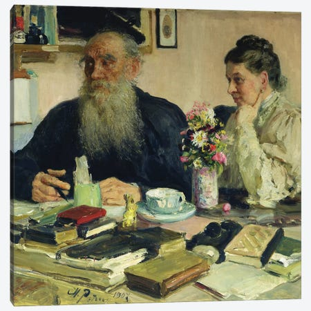 Leo Tolstoy with his wife in Yasnaya Polyana, 1907  Canvas Print #BMN3451} by Ilya Efimovich Repin Canvas Artwork