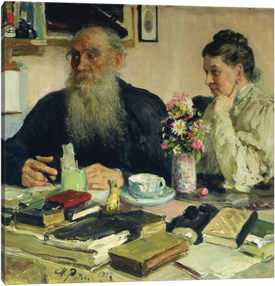Leo Tolstoy with his wife in Yasnaya Polyana, 1907  Canvas Art Print