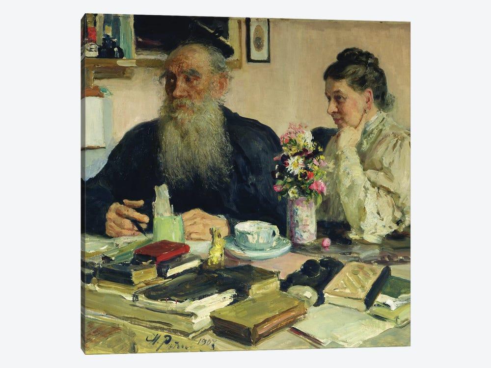 Leo Tolstoy with his wife in Yasnaya Polyana, 1907  by Ilya Efimovich Repin 1-piece Canvas Wall Art