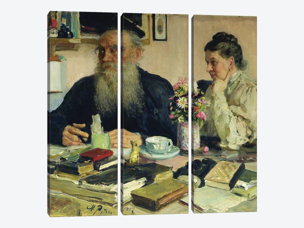 Leo Tolstoy with his wife in Yasnaya Polyana, 1907  by Ilya Efimovich Repin 3-piece Canvas Wall Art