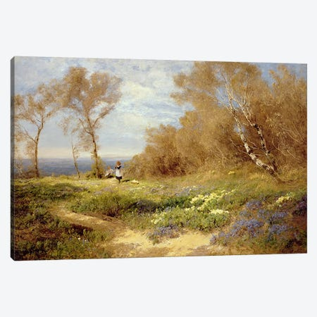 The Primrose Gatherers  Canvas Print #BMN3452} by John Clayton Adams Canvas Artwork