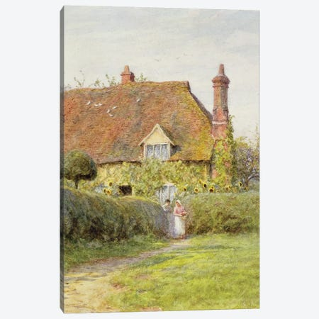 Sunflower Cottage  Canvas Print #BMN3453} by Helen Allingham Canvas Art