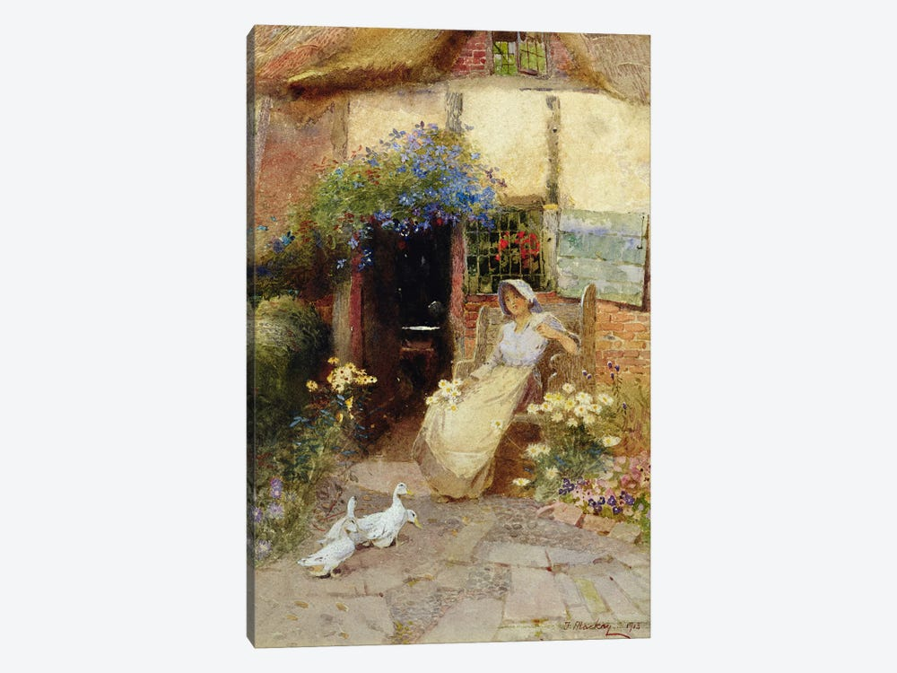 At the Cottage Door, 1913  by Thomas Mackay 1-piece Canvas Art Print