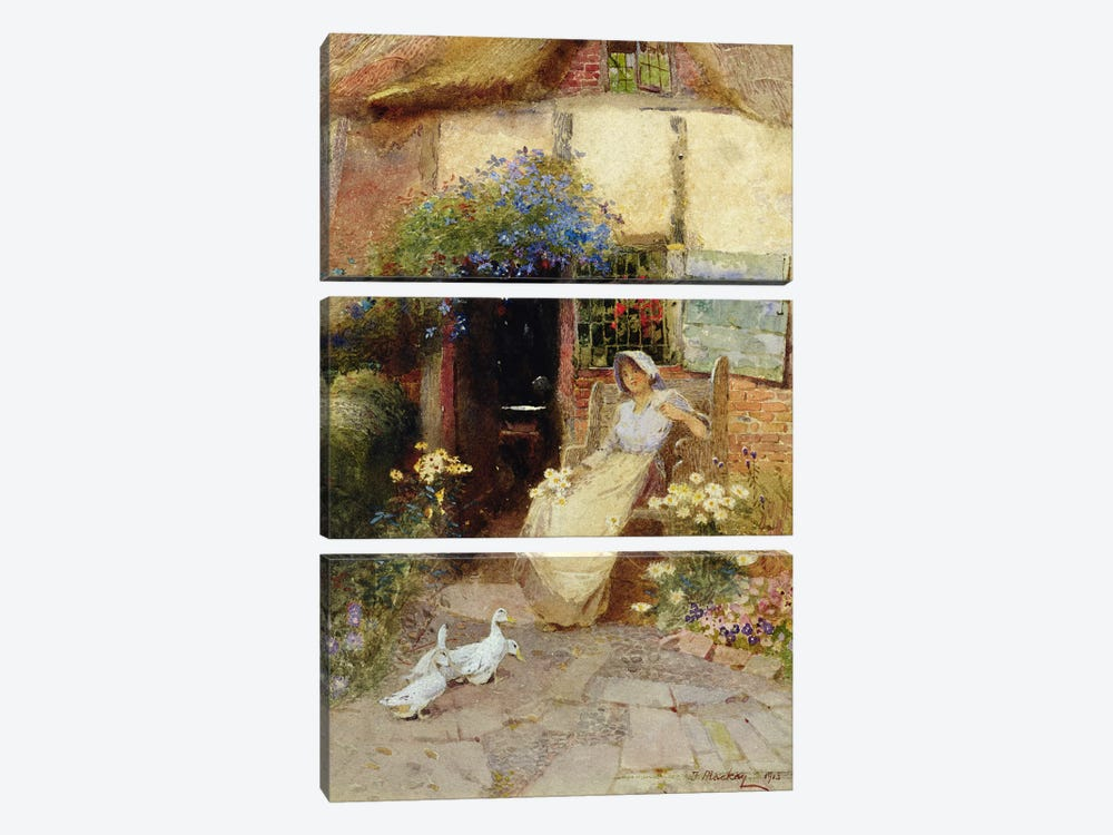 At the Cottage Door, 1913  by Thomas Mackay 3-piece Canvas Print