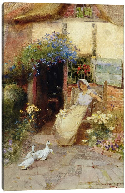 At the Cottage Door, 1913  Canvas Art Print