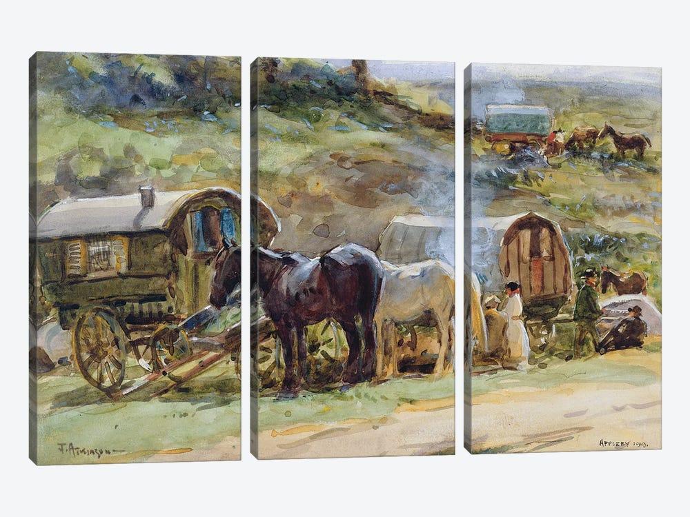 Gypsy Encampment, Appleby, 1919  by John Atkinson 3-piece Canvas Print