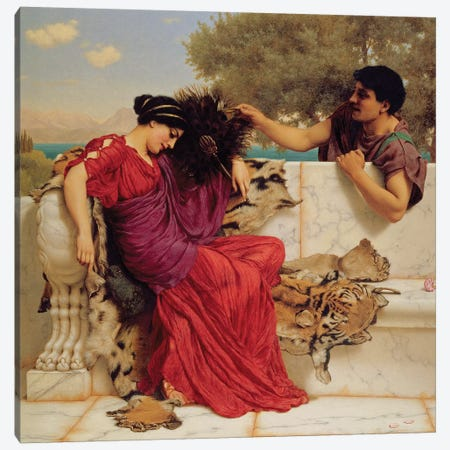 The Old, Old Story, 1903  Canvas Print #BMN3457} by John William Godward Canvas Print