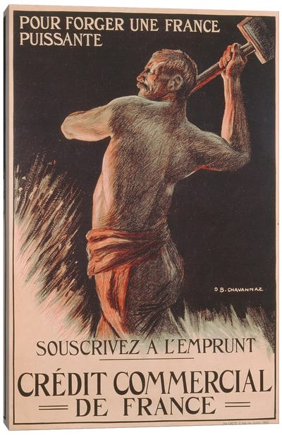 Poster advertising the French National Loan, First World War  Canvas Art Print