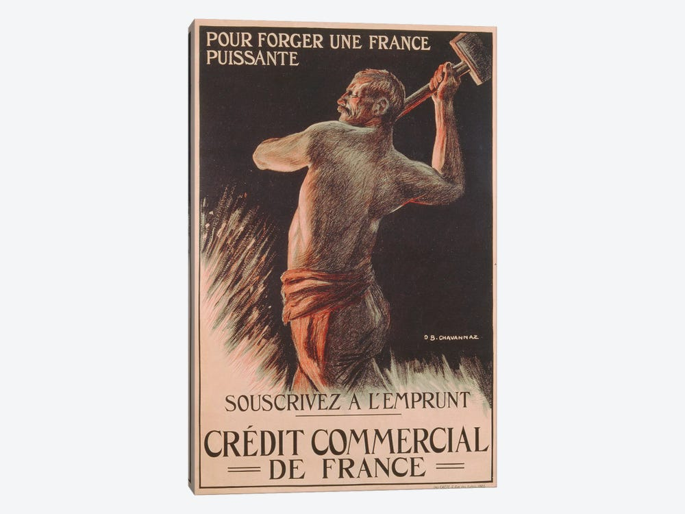 Poster advertising the French National Loan, First World War by B. Chavannaz 1-piece Canvas Print