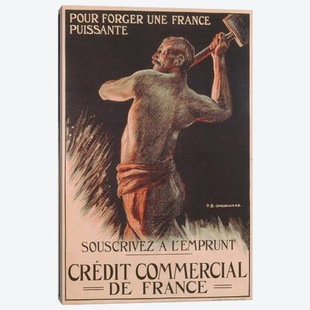 Poster advertising the French National Loan, First World War  3-Piece Canvas #BMN3461} by B. Chavannaz Canvas Art Print