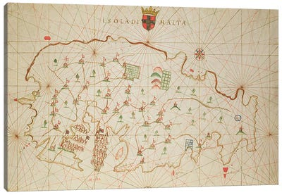 The Island of Malta, from a nautical atlas, 1646 Canvas Art Print