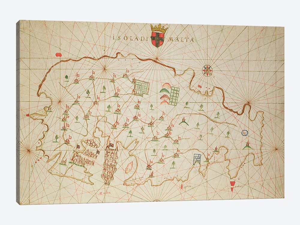 The Island of Malta, from a nautical atlas, 1646 by Italian School 1-piece Canvas Art Print