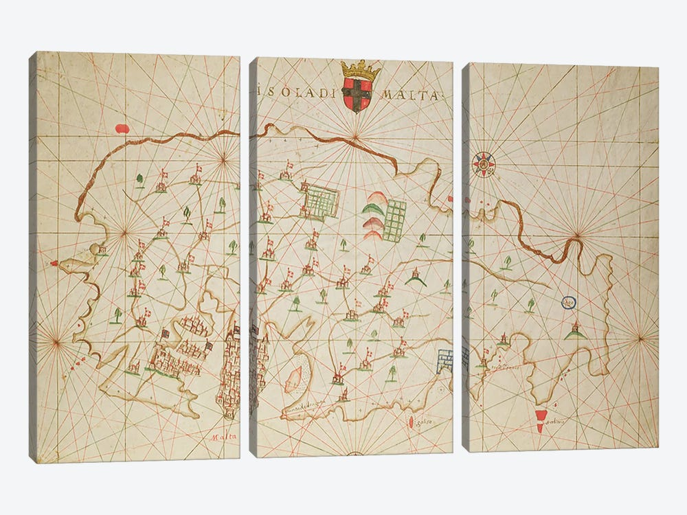 The Island of Malta, from a nautical atlas, 1646 by Italian School 3-piece Canvas Art Print