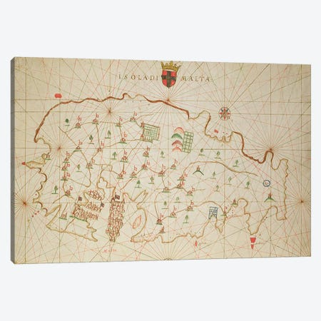 The Island of Malta, from a nautical atlas, 1646  Canvas Print #BMN3487} by Italian School Canvas Artwork