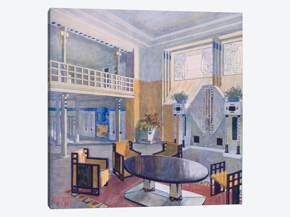 Viennese project from a hall in Modernist style. Prutscher O, Geyling R & Vollmer H. Early 1900s 1-piece Art Print