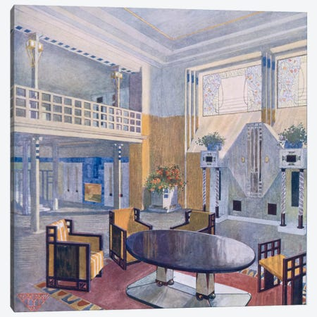 Viennese project from a hall in Modernist style. Prutscher O, Geyling R & Vollmer H. Early 1900s Canvas Print #BMN34} by Unknown Artist Canvas Art