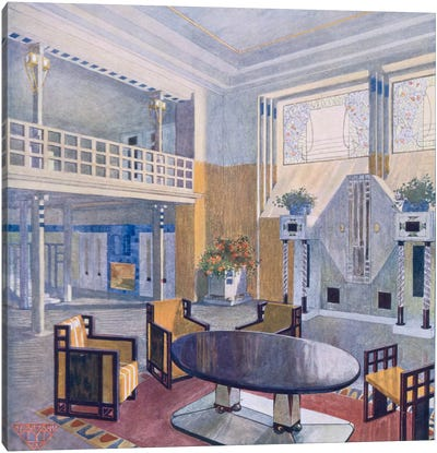 Viennese project from a hall in Modernist style. Prutscher O, Geyling R & Vollmer H. Early 1900s Canvas Art Print