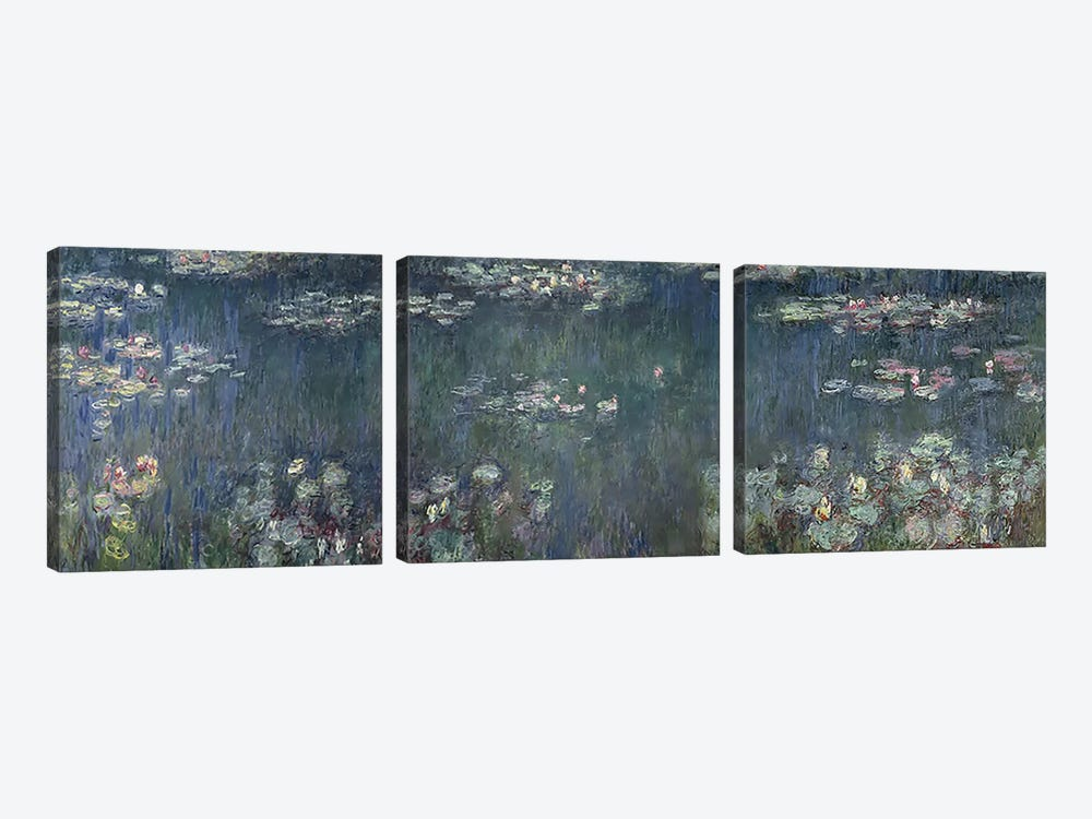 Waterlilies: Green Reflections, 1914-18 P by Claude Monet 3-piece Canvas Art Print