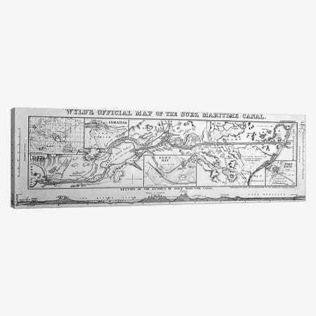 Wyld's Official Map of the Suez Maritime Canal, 1869  Canvas Print #BMN3511} by James the Younger Wyld Canvas Art Print