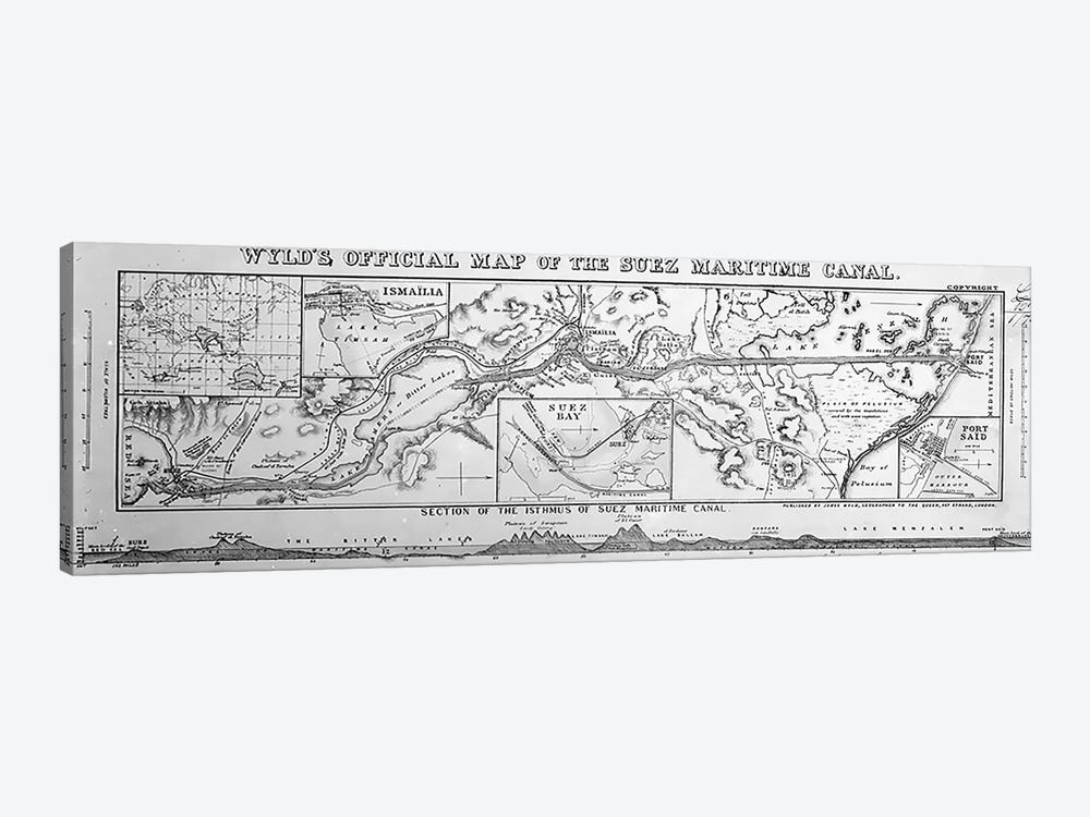 Wyld's Official Map of the Suez Maritime Canal, 1869  by James the Younger Wyld 1-piece Art Print