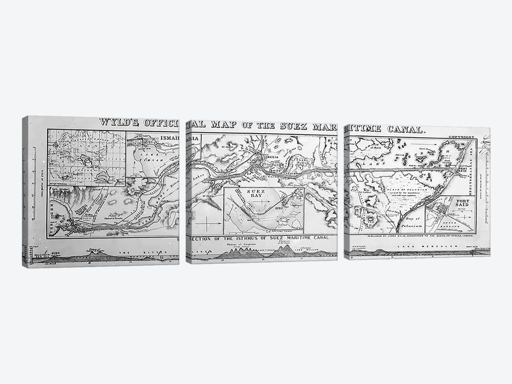 Wyld's Official Map of the Suez Maritime Canal, 1869  by James the Younger Wyld 3-piece Art Print