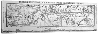 Wyld's Official Map of the Suez Maritime Canal, 1869  Canvas Art Print