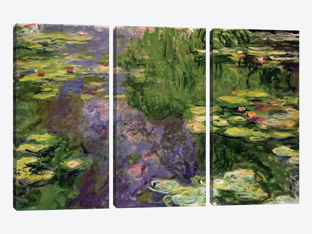 Waterlilies  by Claude Monet 3-piece Canvas Art