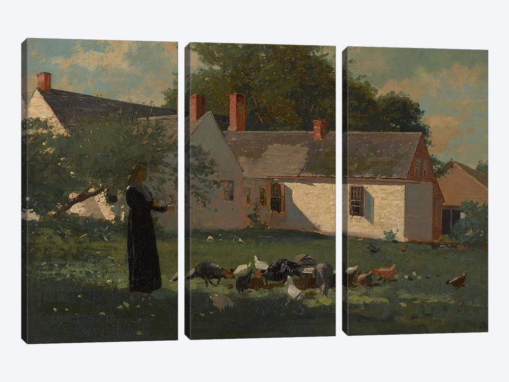 Farmyard Scene, c.1874  by Winslow Homer 3-piece Canvas Art Print