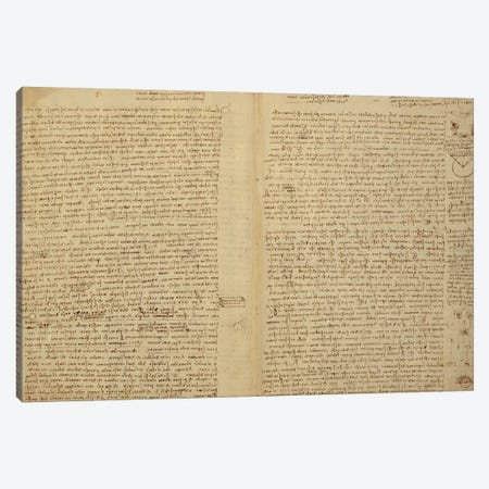 A page from the Codex Leicester, 1508-12  Canvas Print #BMN3521} by Leonardo da Vinci Canvas Wall Art