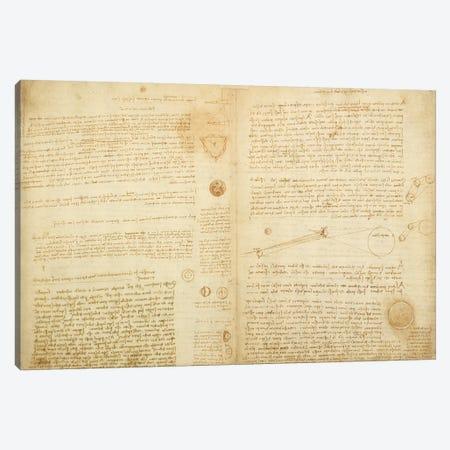 A page from the Codex Leicester, 1508-12  Canvas Print #BMN3522} by Leonardo da Vinci Canvas Artwork