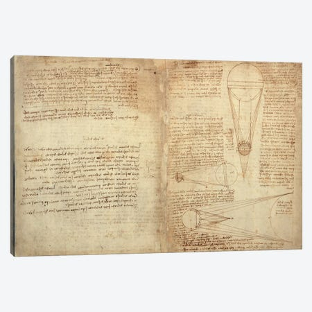 Studies of the Illumination of the Moon, A page from the Codex Leicester, 1508-12  Canvas Print #BMN3523} by Leonardo da Vinci Canvas Art