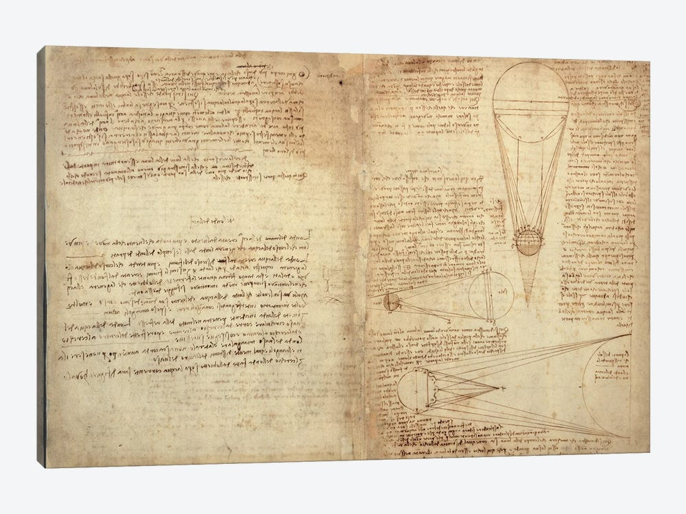 Studies of the Illumination of the Moon, A page from the Codex Leicester, 1508-12  by Leonardo da Vinci 1-piece Canvas Artwork