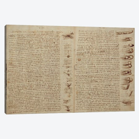 A page from the Codex Leicester, 1508-12  Canvas Print #BMN3524} by Leonardo da Vinci Canvas Art Print