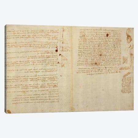 Scientific diagrams, from the 'Codex Leicester', 1508-12  Canvas Print #BMN3527} by Leonardo da Vinci Canvas Art Print