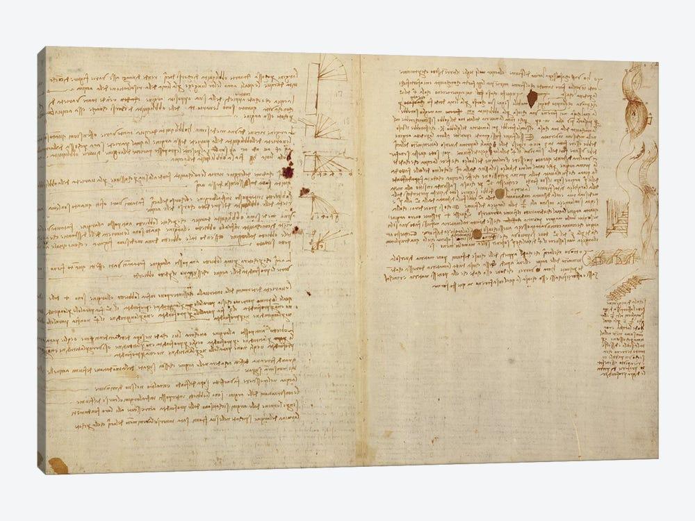 Scientific diagrams, from the 'Codex Leicester', 1508-12  by Leonardo da Vinci 1-piece Canvas Art