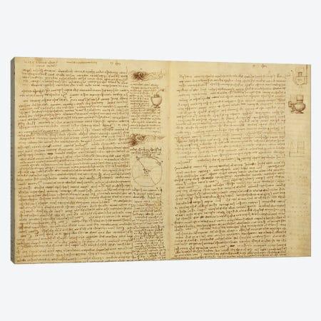A page from the Codex Leicester, 1508-12  Canvas Print #BMN3529} by Leonardo da Vinci Canvas Art