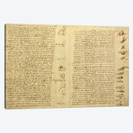 A page from the Codex Leicester, 1508-12  Canvas Print #BMN3530} by Leonardo da Vinci Canvas Print
