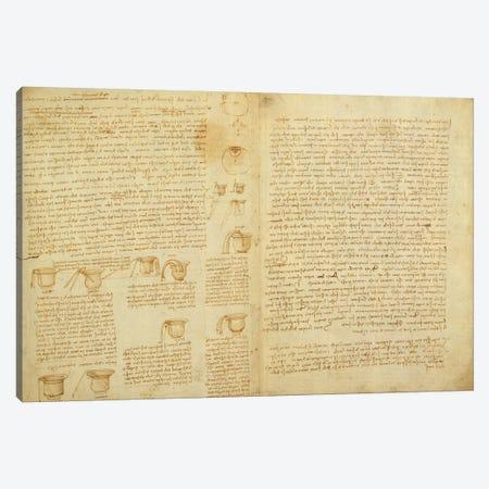 A page from the Codex Leicester, 1508-12  Canvas Print #BMN3531} by Leonardo da Vinci Canvas Art Print