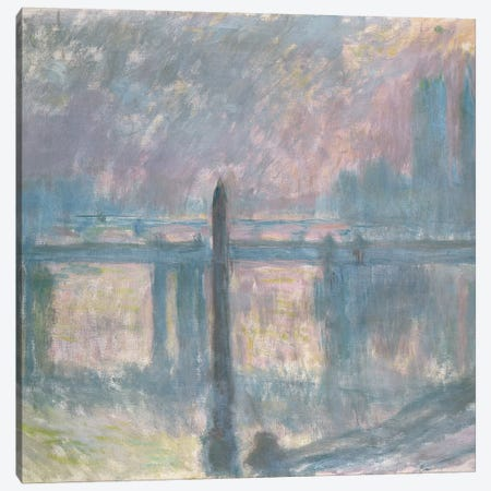 Cleopatra's Needle and Charing Cross Bridge, 1899  Canvas Print #BMN3536} by Claude Monet Canvas Wall Art