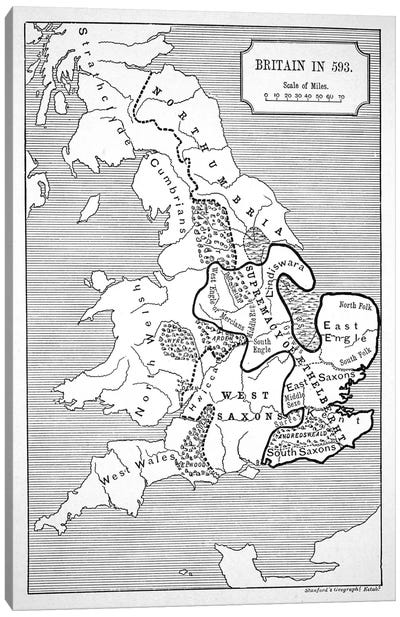 Map of Britain in 593, printed by Stanford's Geographical Establishment Canvas Art Print