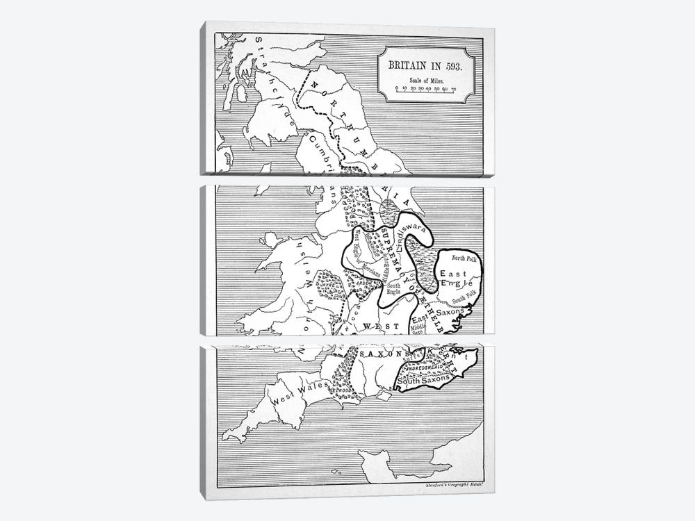 Map of Britain in 593, printed by Stanford's Geographical Establishment 3-piece Canvas Print