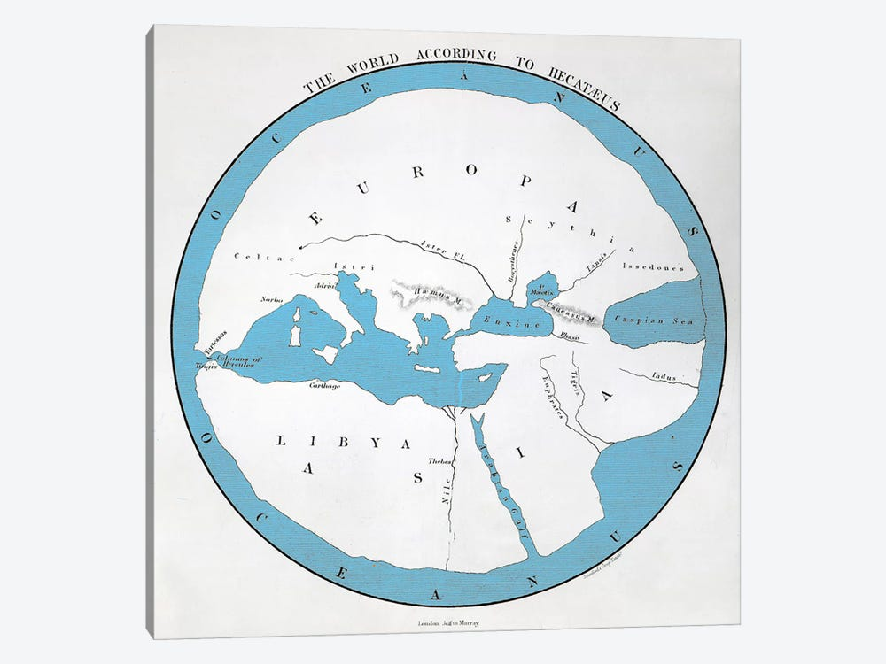 The world according to Hecataeus, published by John Murray  by English School 1-piece Canvas Wall Art