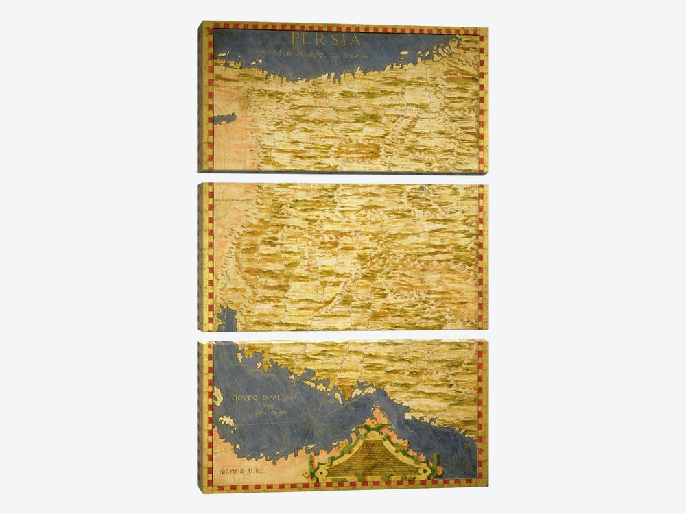 Map of Persia  by Stefano Bonsignori 3-piece Canvas Wall Art