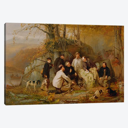 Claiming the Shot: After the Hunt in the Adirondacks, 1865  Canvas Print #BMN3553} by John George Brown Canvas Art Print