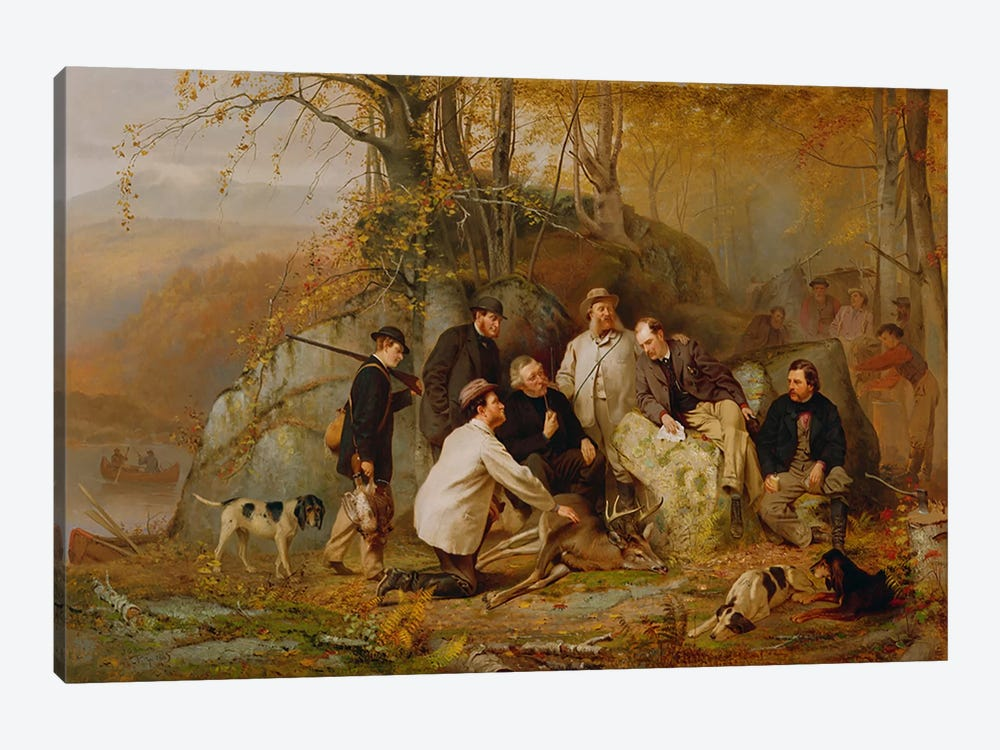 Claiming the Shot: After the Hunt in the Adirondacks, 1865 by John George Brown 1-piece Canvas Art Print