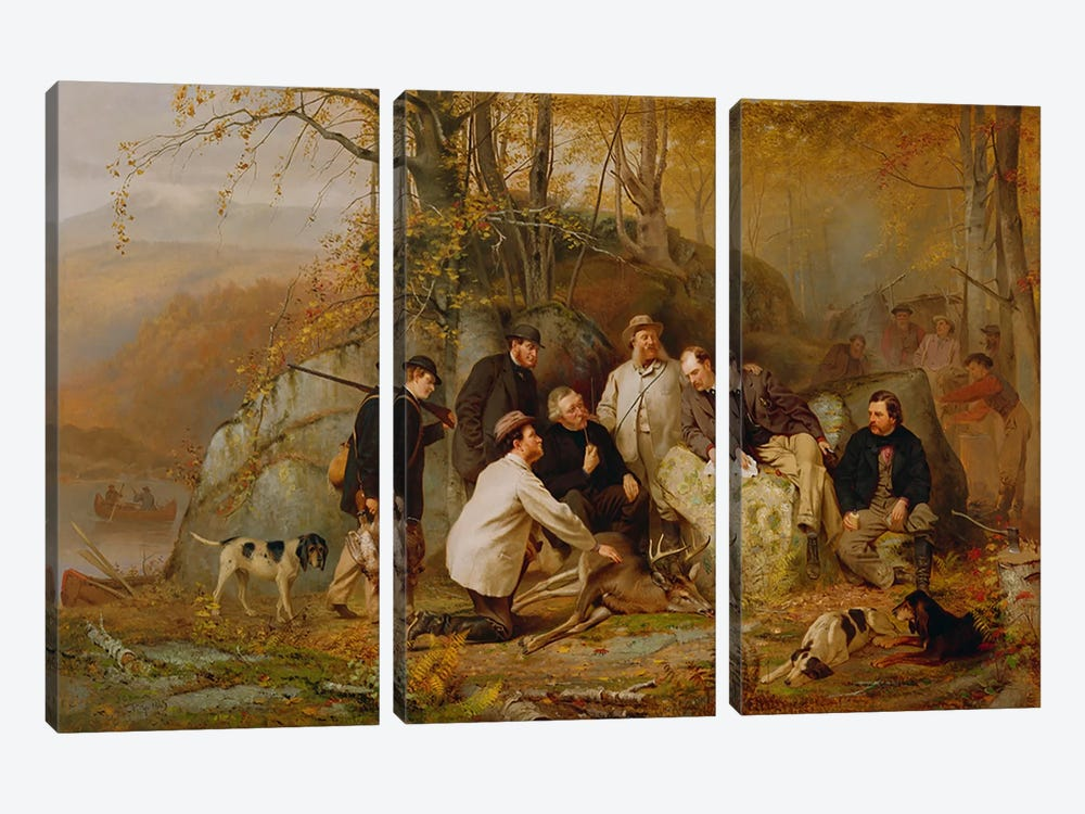 Claiming the Shot: After the Hunt in the Adirondacks, 1865 by John George Brown 3-piece Canvas Art Print