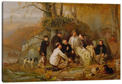 Claiming the Shot: After the Hunt in the Adirondacks, 1865  Canvas Art Print