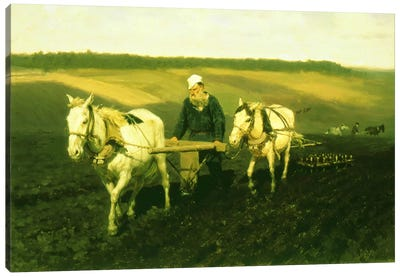 The writer Lev Nikolaevich Tolstoy ploughing with horses, 1889 Canvas Art Print