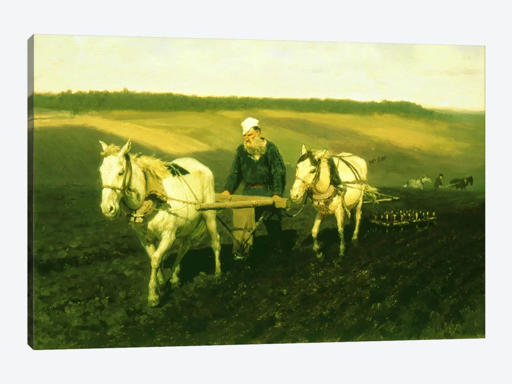 The writer Lev Nikolaevich Tolstoy ploughing with horses, 1889  by Ilya Efimovich Repin 1-piece Canvas Artwork