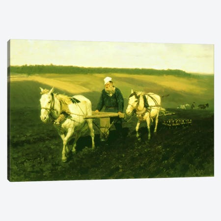 The writer Lev Nikolaevich Tolstoy ploughing with horses, 1889  Canvas Print #BMN3554} by Ilya Efimovich Repin Canvas Artwork